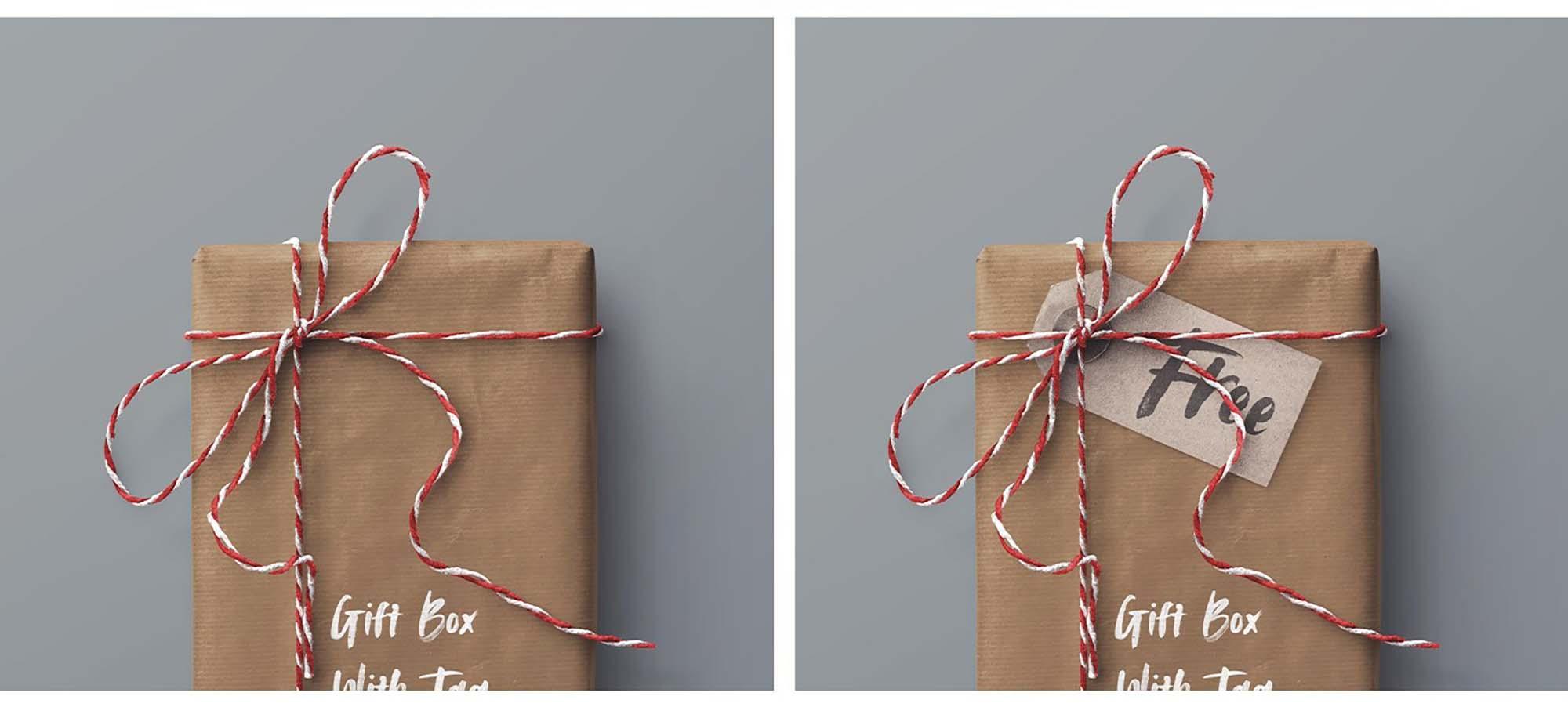 Gift Box and Tag Mockup 4