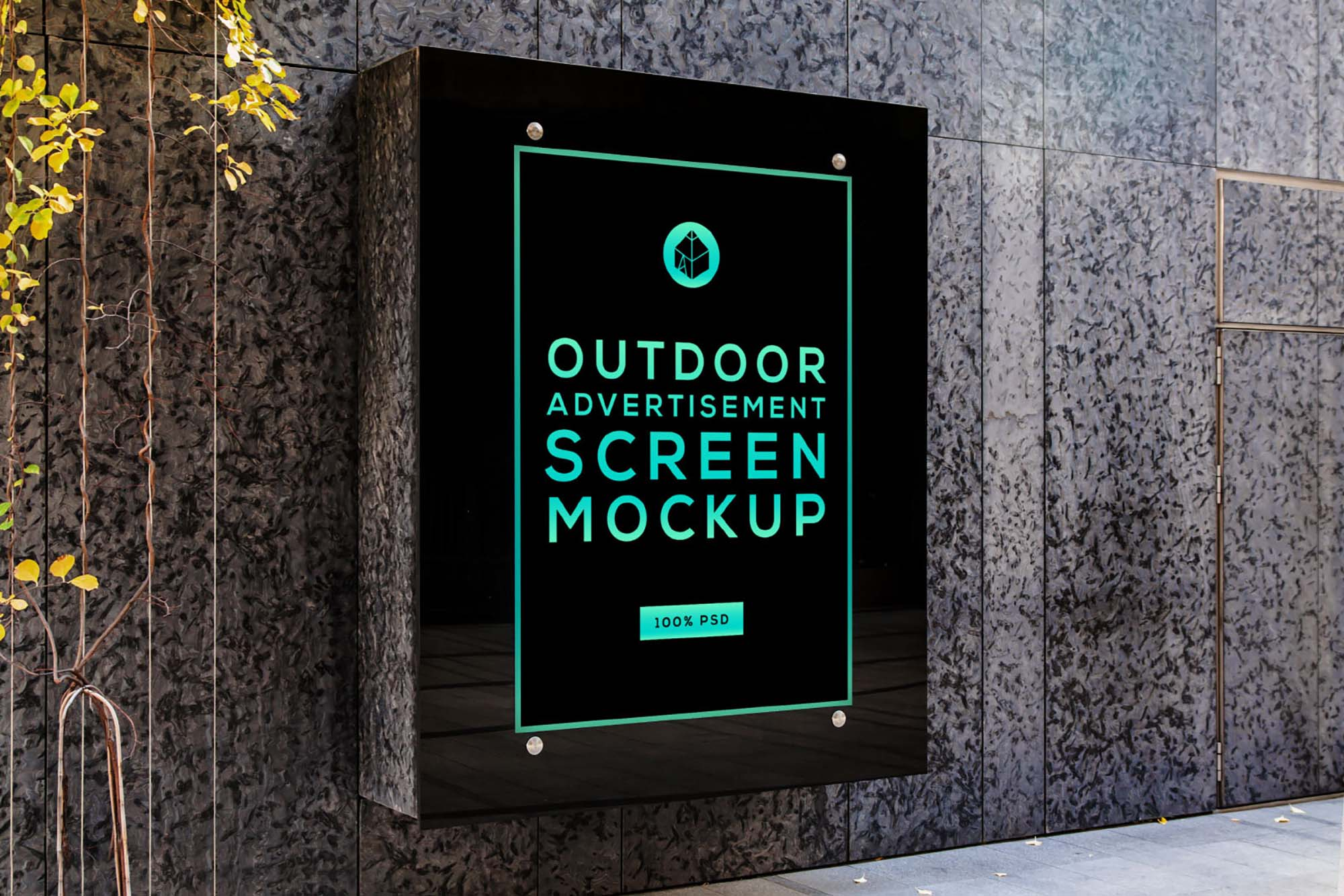 Glass Advertising Screen Mockup