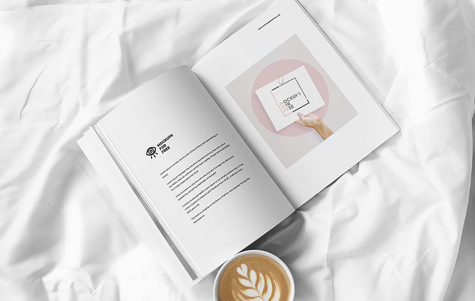 Magazine on Bed Mockup