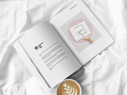 Magazine on Bed Mockup