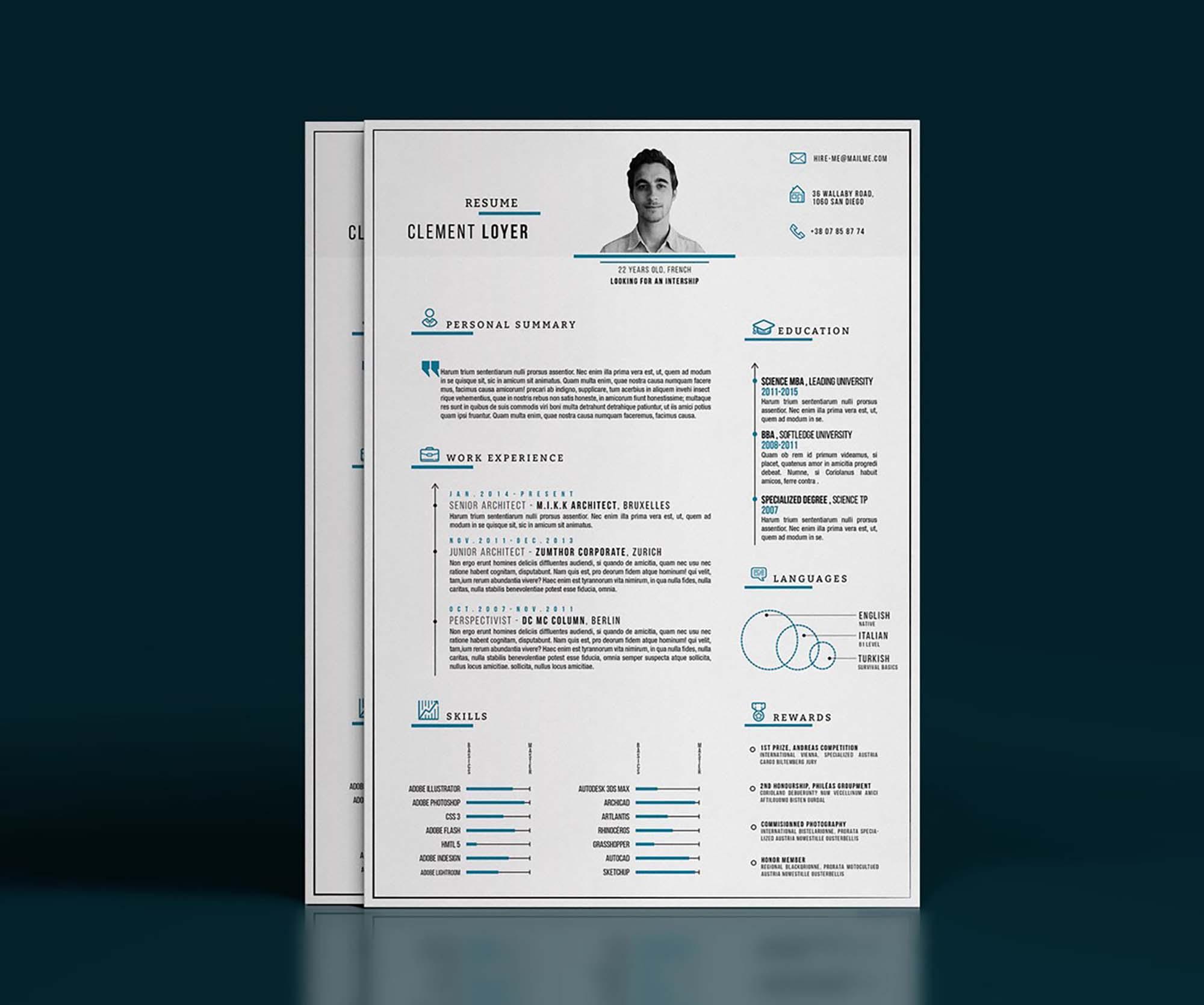 Precise Blue Resume Template