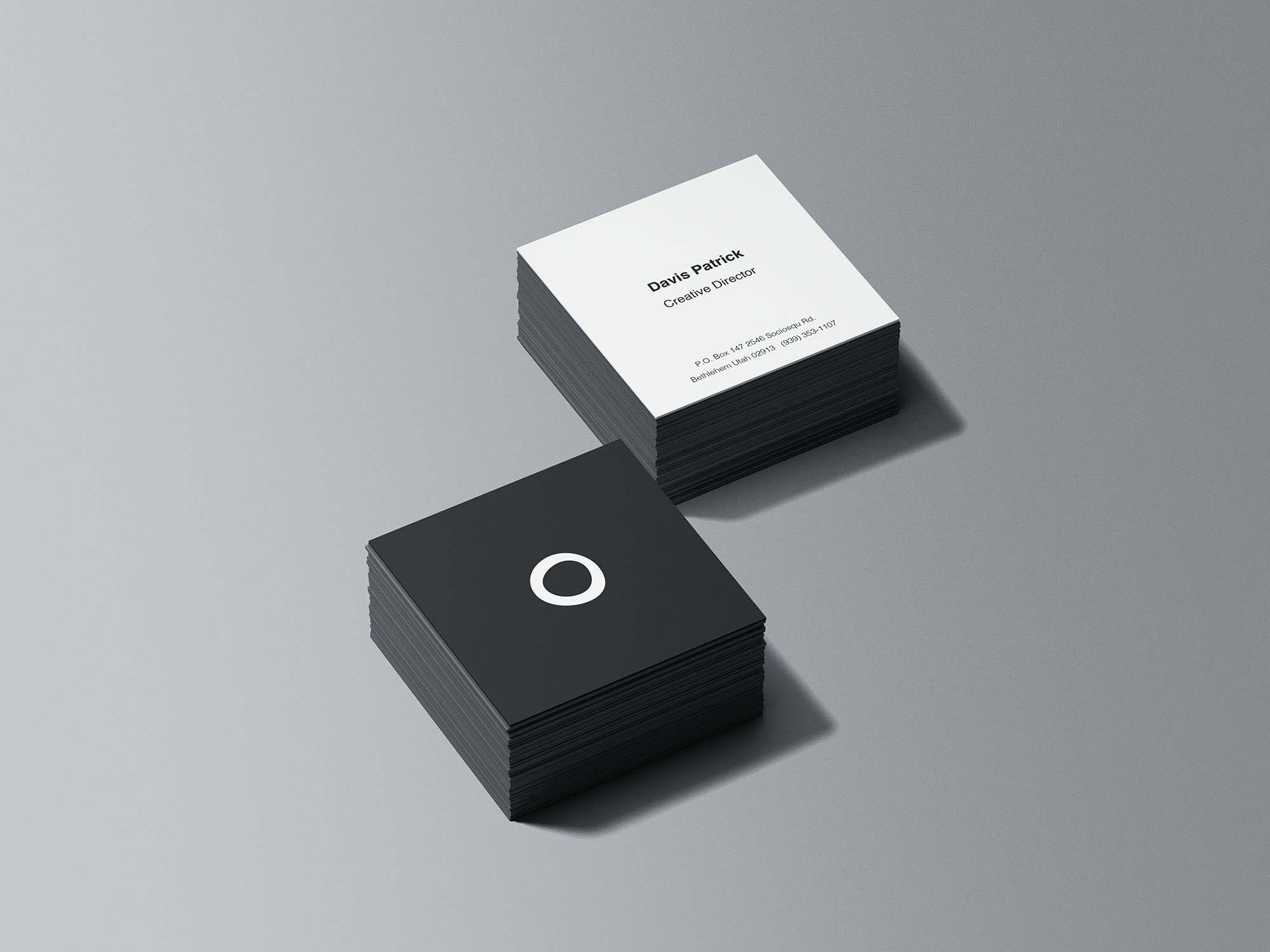 Free Square Business Cards Stack Mockup Psd