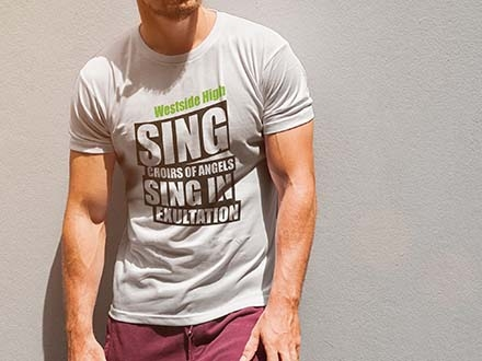 T-shirt Worn by Man Mockup