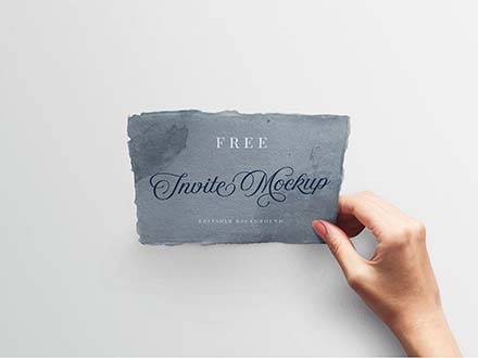 Wedding Invitation with Hand Mockup