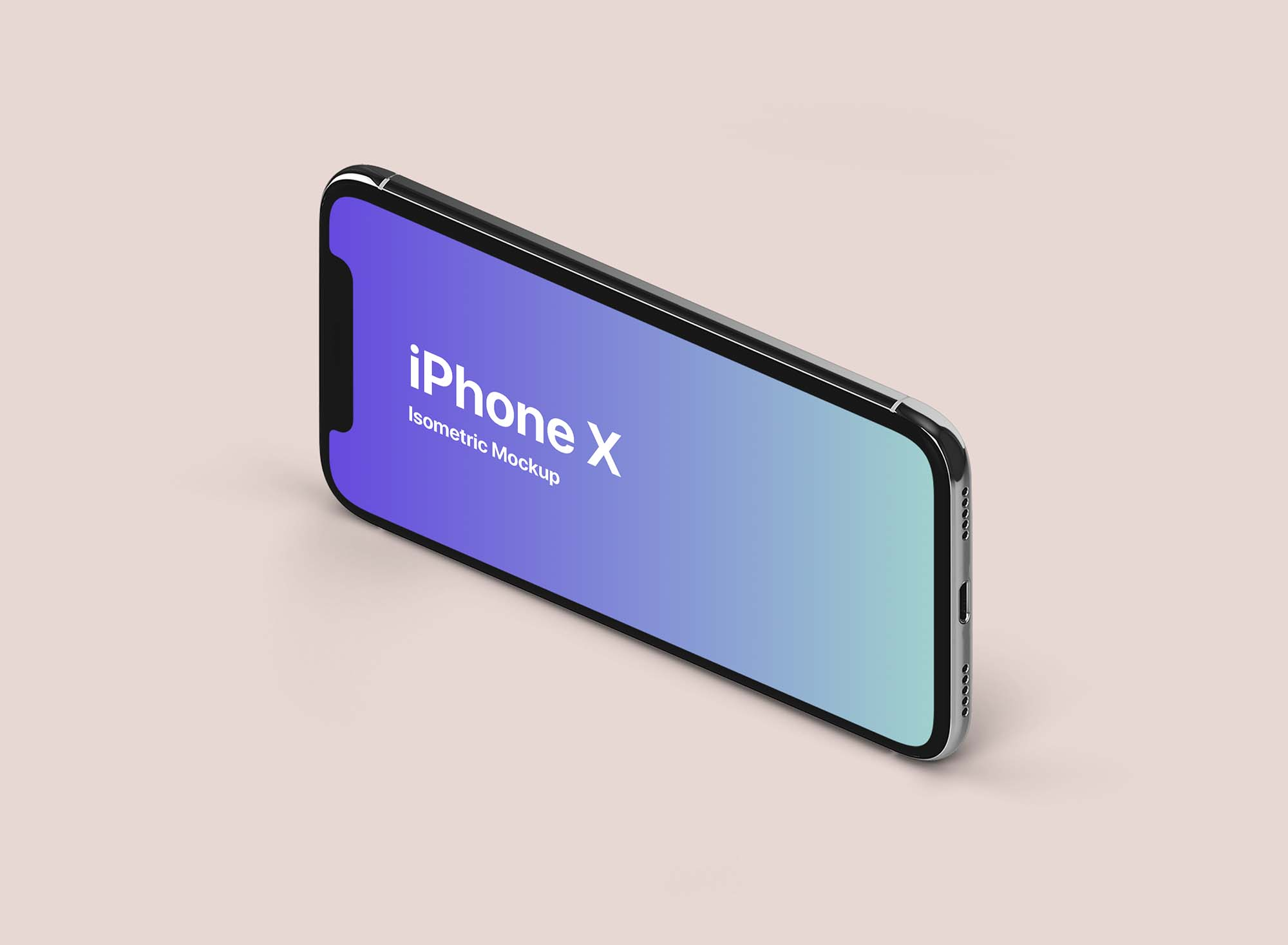 iPhone X Isometric Landscape Mockup