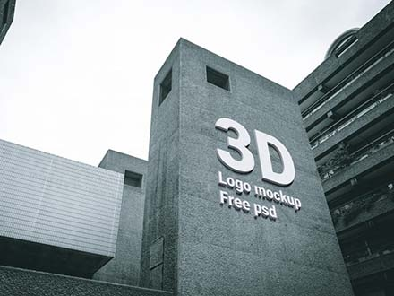 3D Logo on Building Mockup