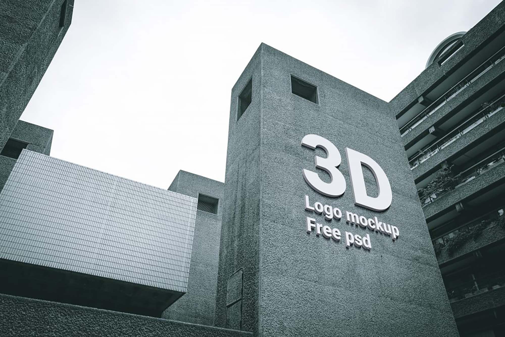 3D Logo on Building Mockup