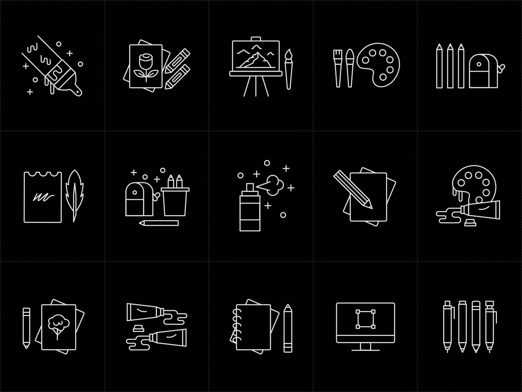Artist Tools Vector Icons Black