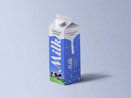 Cartoon Milk Packaging Mockup