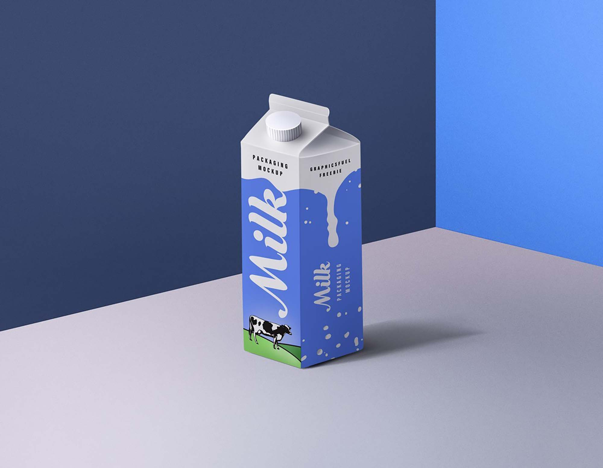 Cartoon Milk Packaging Mockup PSD