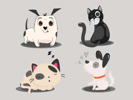 Cats and Dogs Vector Illustrations