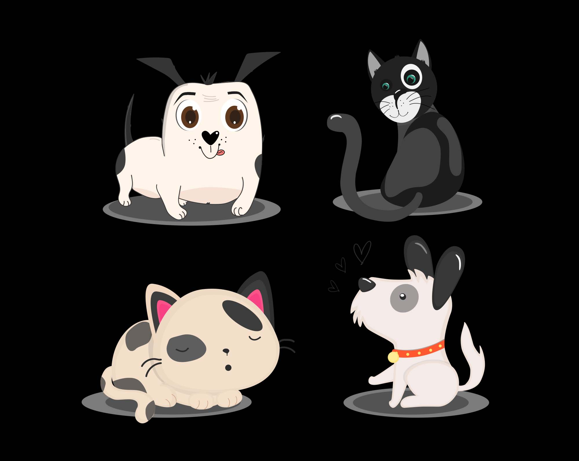 Cats and Dogs Vector Illustrations Black
