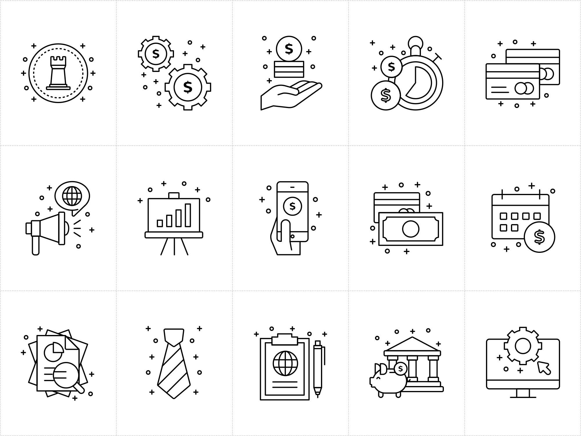 Corporate Business Vector Icons White