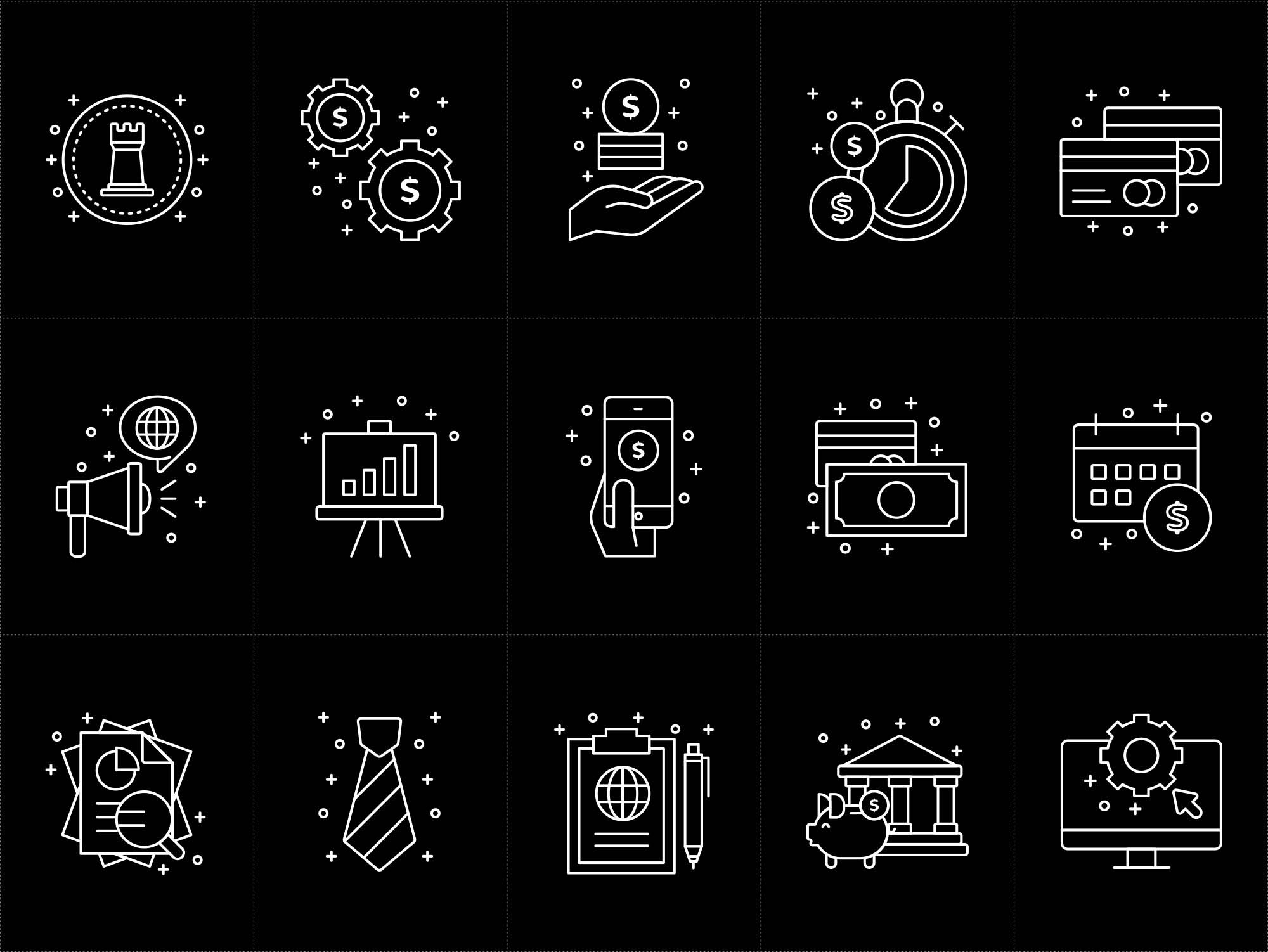 Corporate Business Vector Icons Black