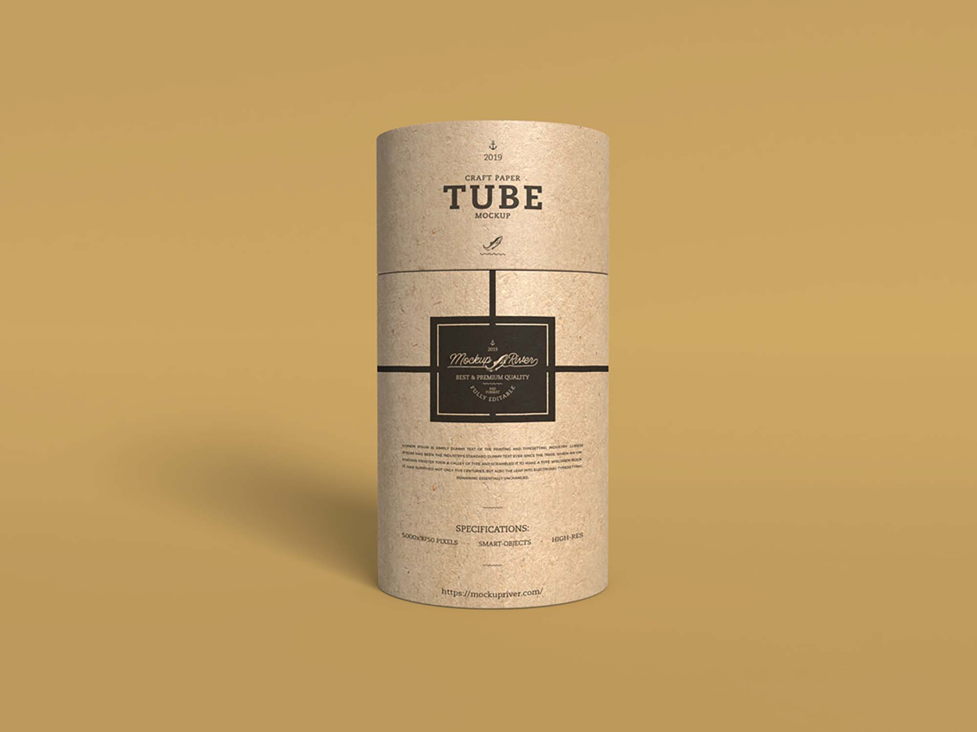 Craft Paper Tube Mockup