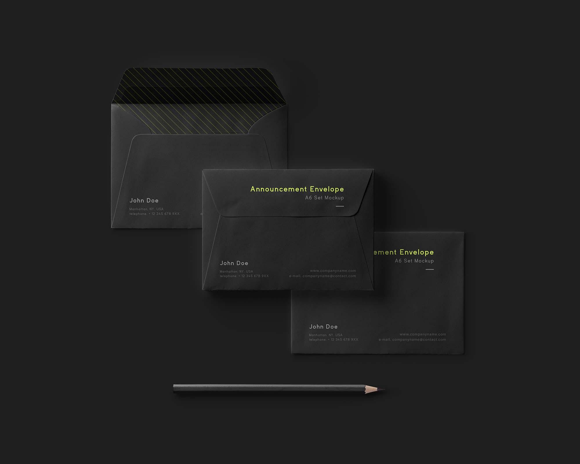 Black Envelope Mockup