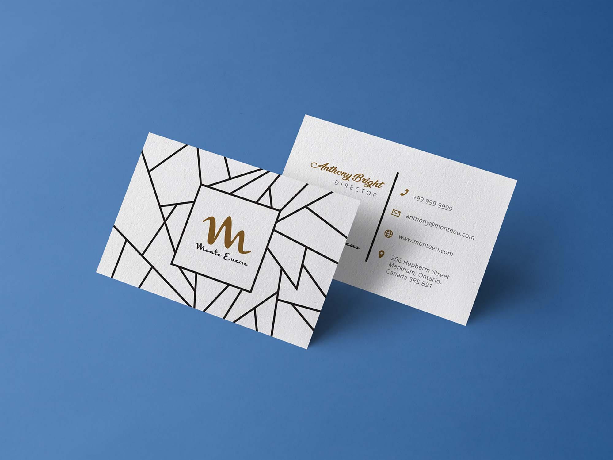 Free Front & Back Business Card Design Mockup (PSD)