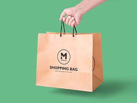 Handheld Paper Bag Mockup