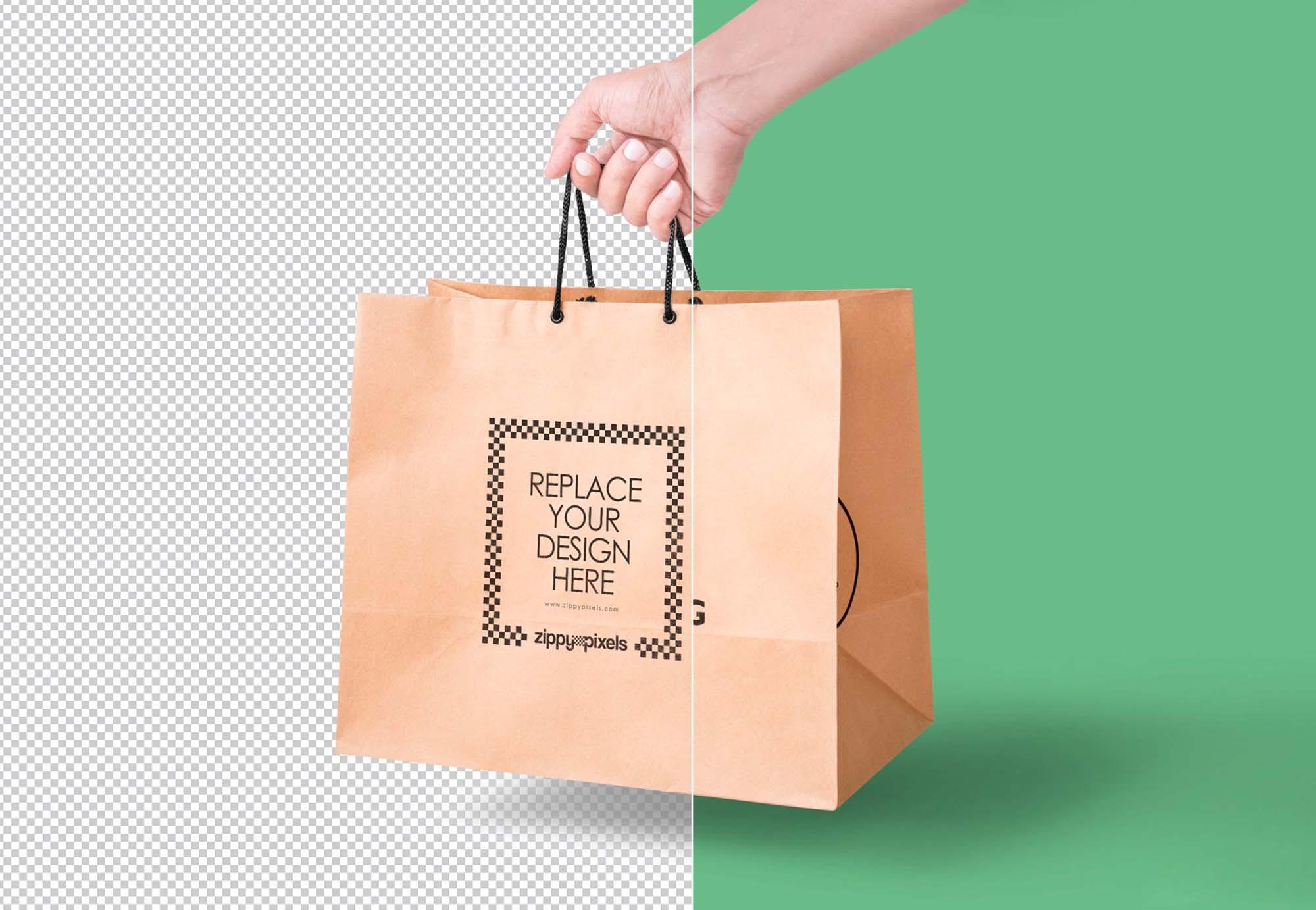 Handheld Paper Bag Mockup PSD
