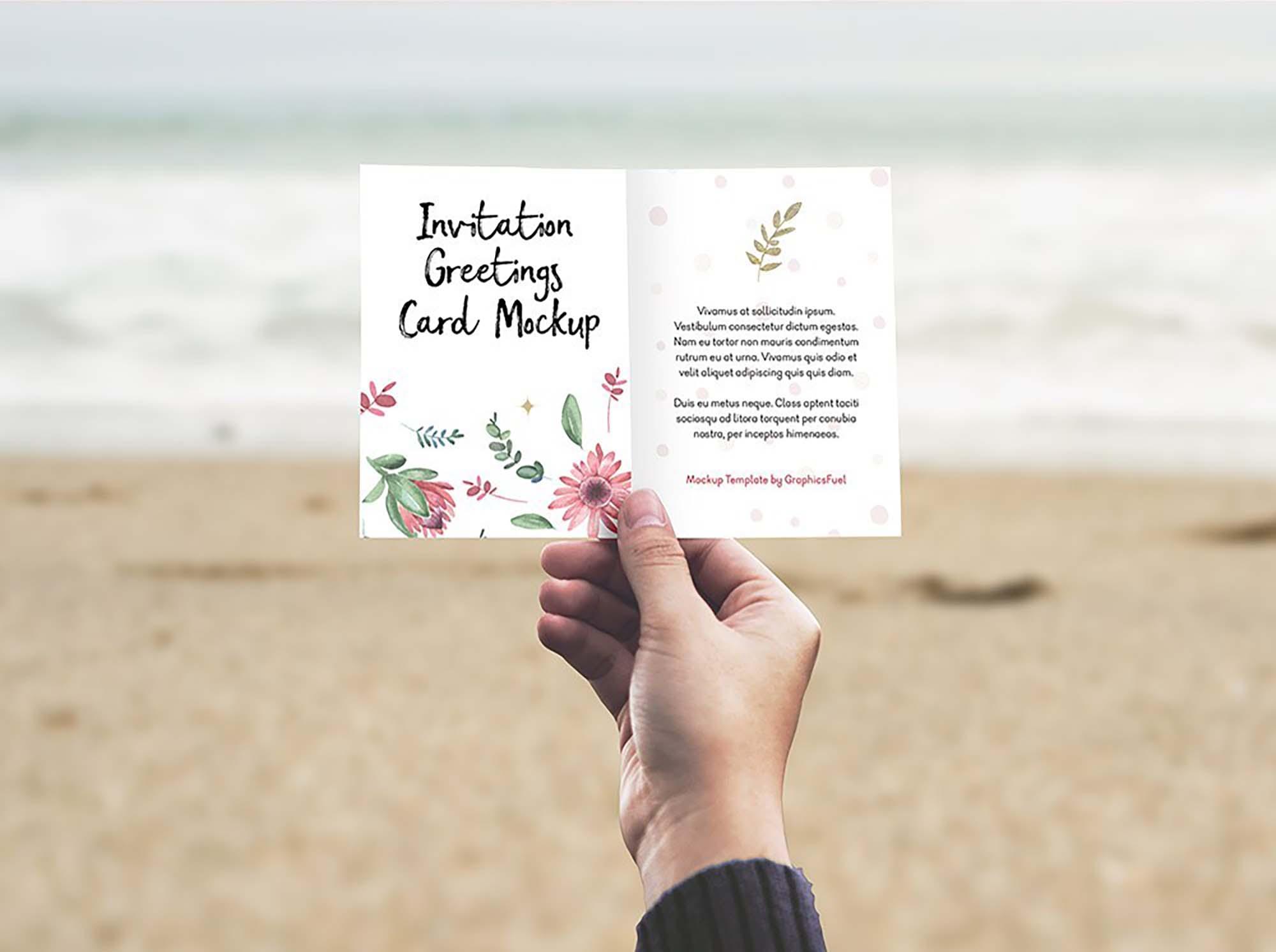 Invitation Card in Hand Mockup