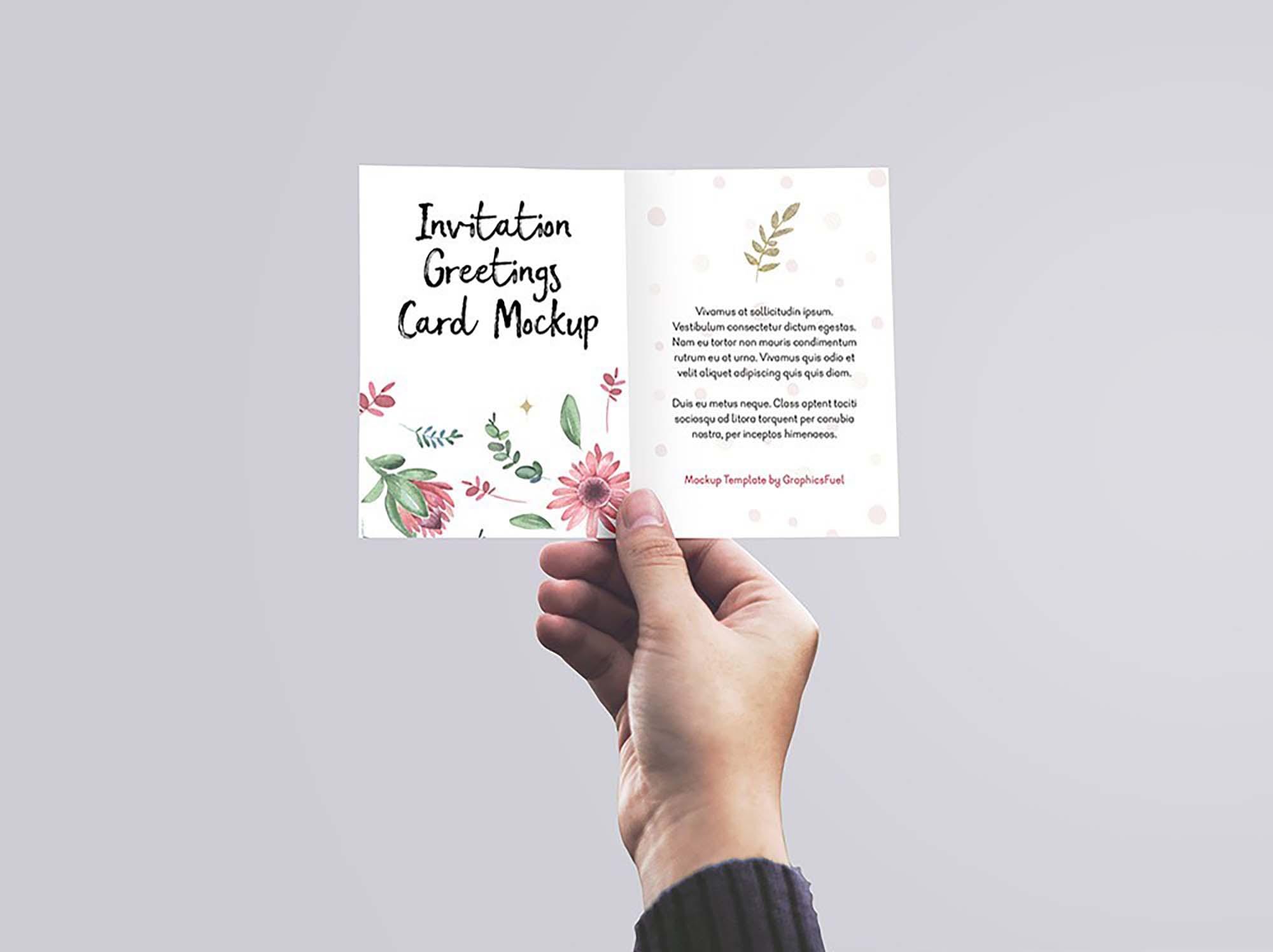 Free Invitation Greeting Card In Hand Mockup Psd