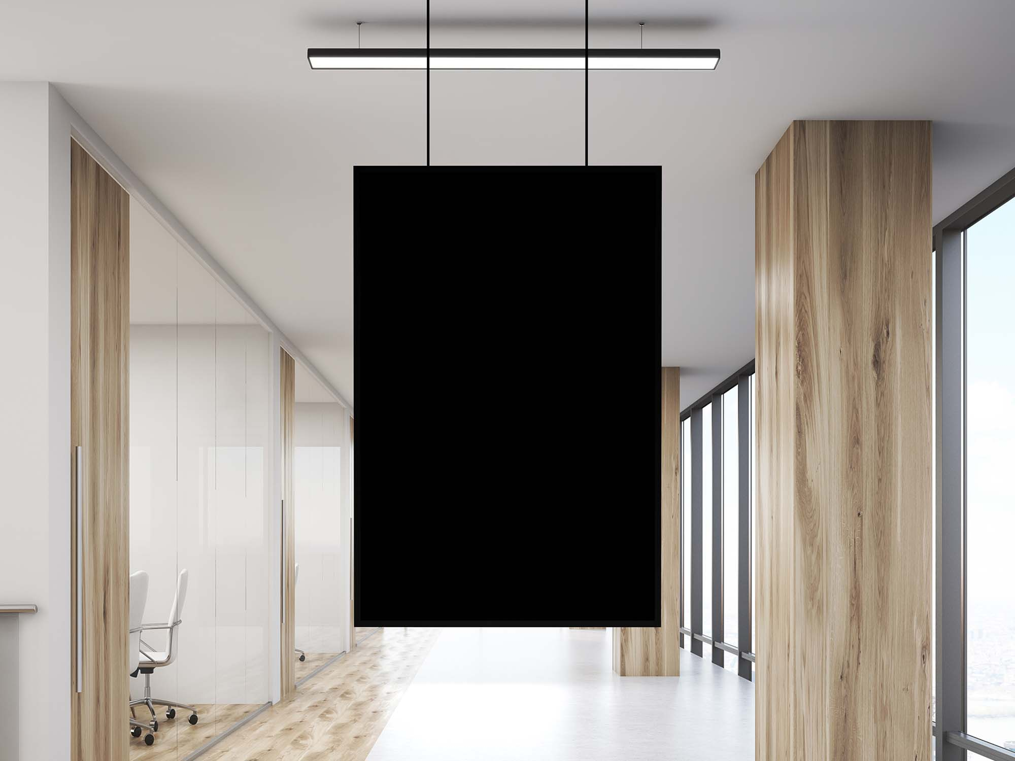 Office Indoor Hanging Poster Mockup PSD