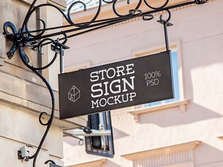 Rectangle Store Sign Mockup