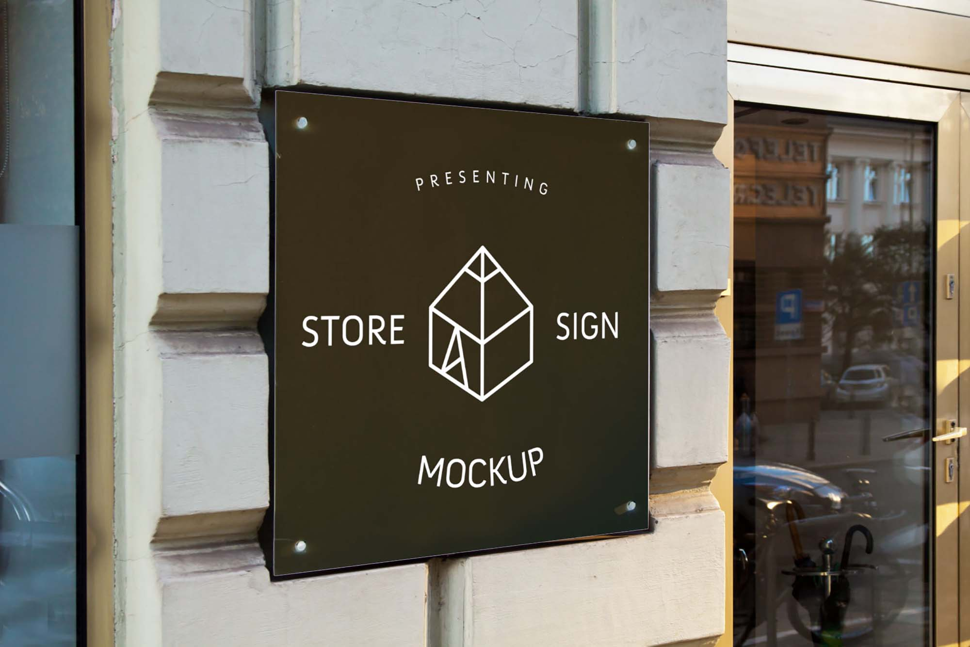 Square Wall Store Sign Mockup