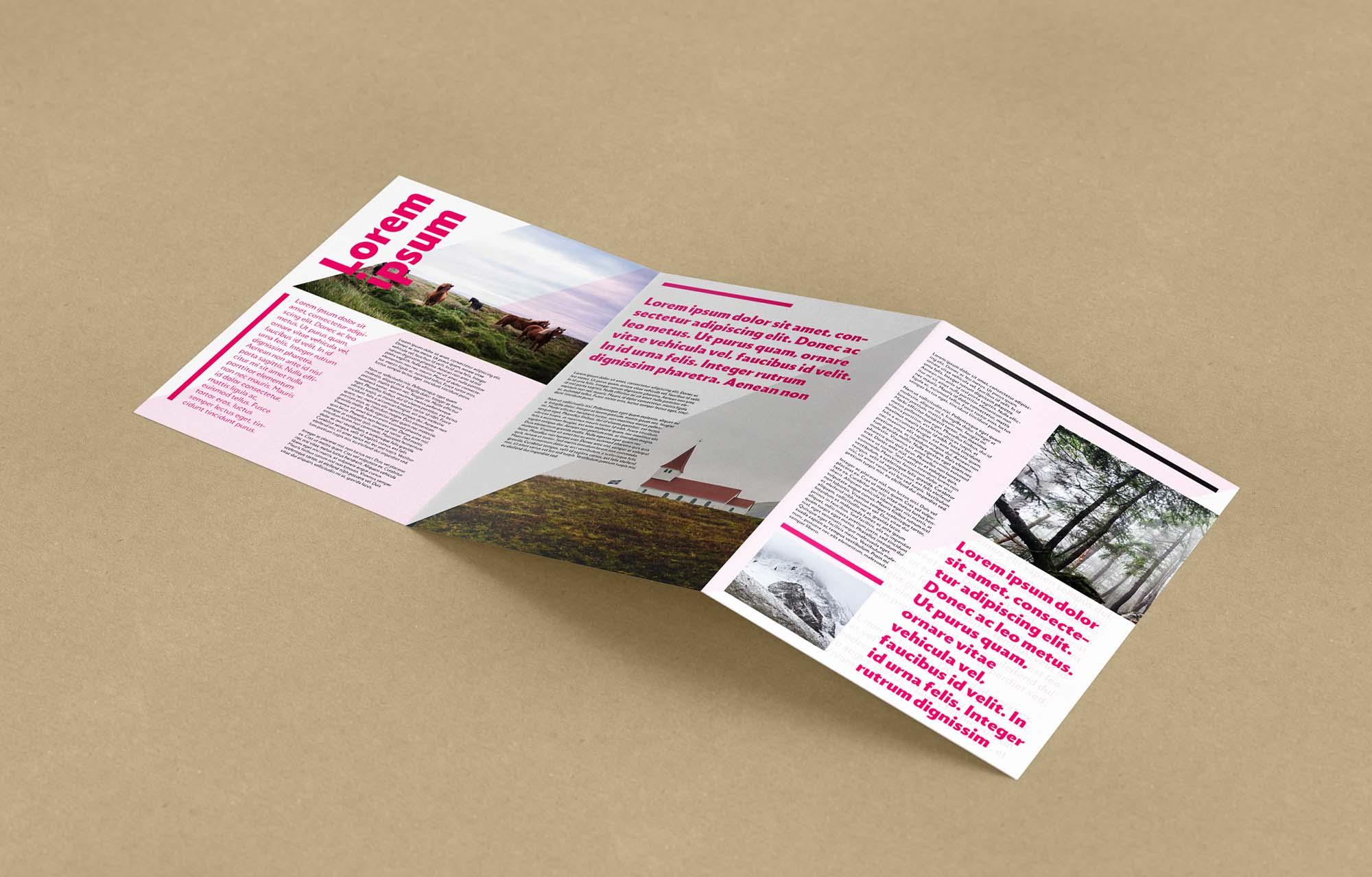Opened Trifold Leaflet Mockup 2
