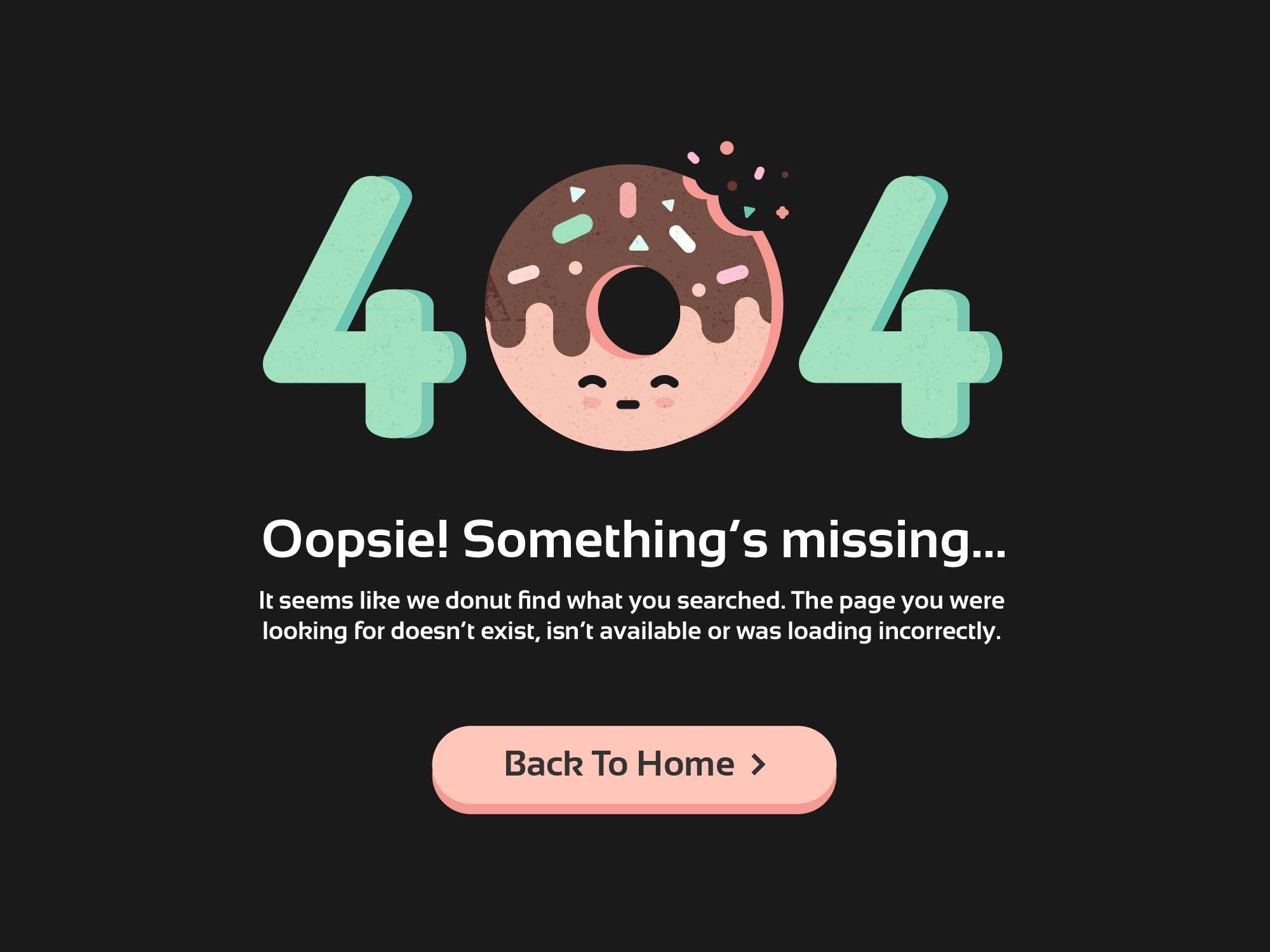 404 Error Page Donut Template 2