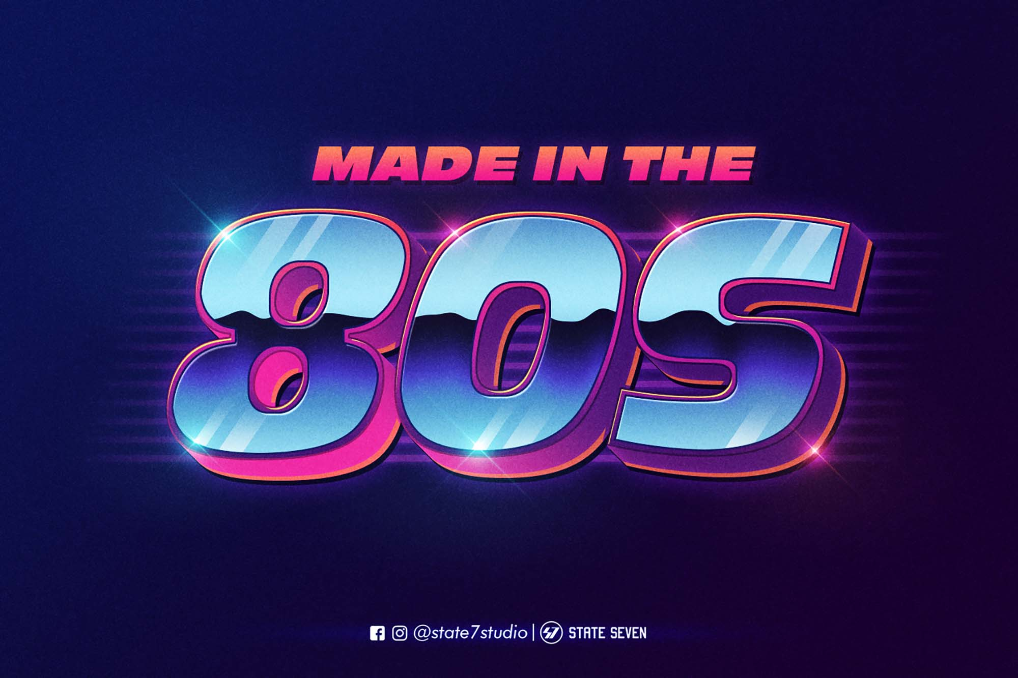 80's Style Text Effect Mockup