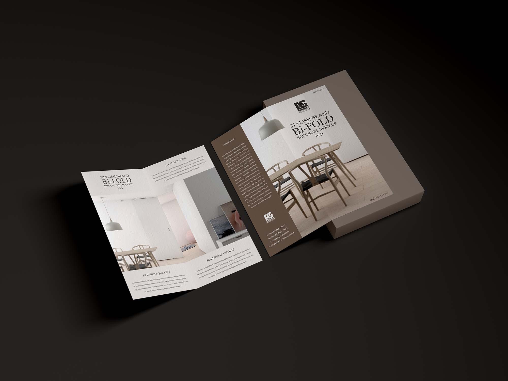 Branding Bi-Fold Brochure Mockup 2