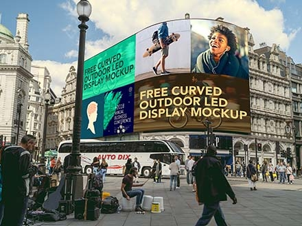 Curved Outdoor Advertising Mockup
