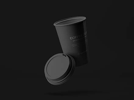 Flying Coffee Cup Mockup