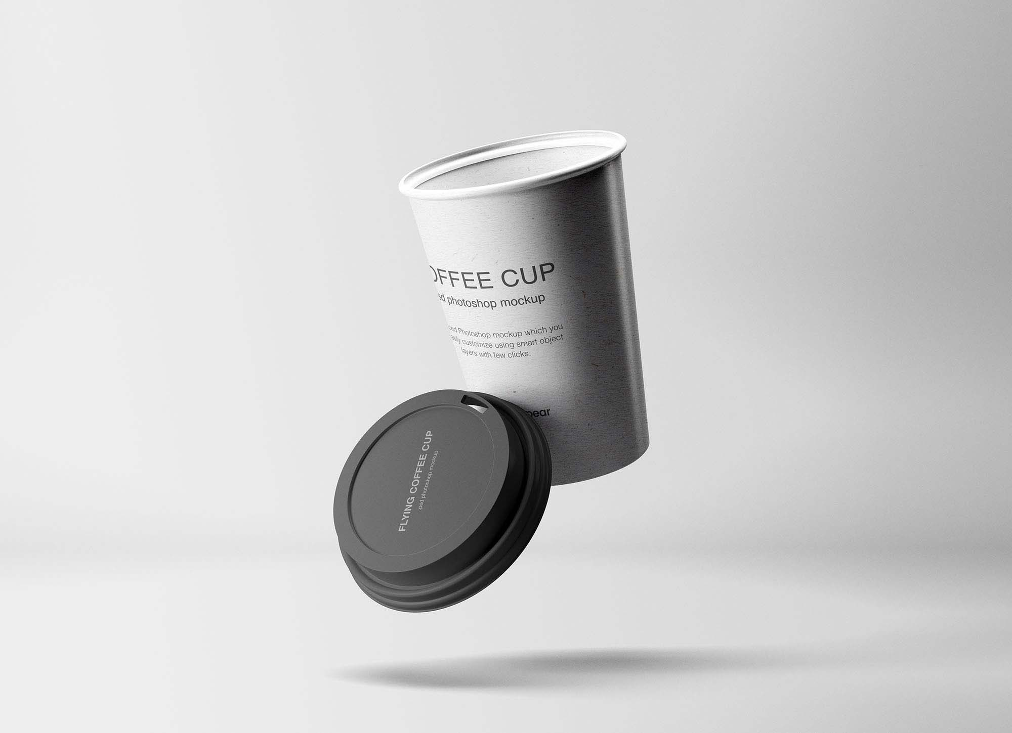 Flying Coffee Cup Mockup 1