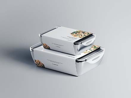 Food Container Mockup with Label