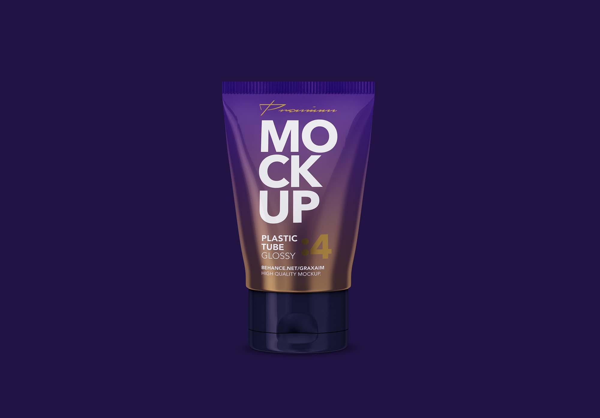 Glossy Plastic Cosmetic Tube Mockup 2