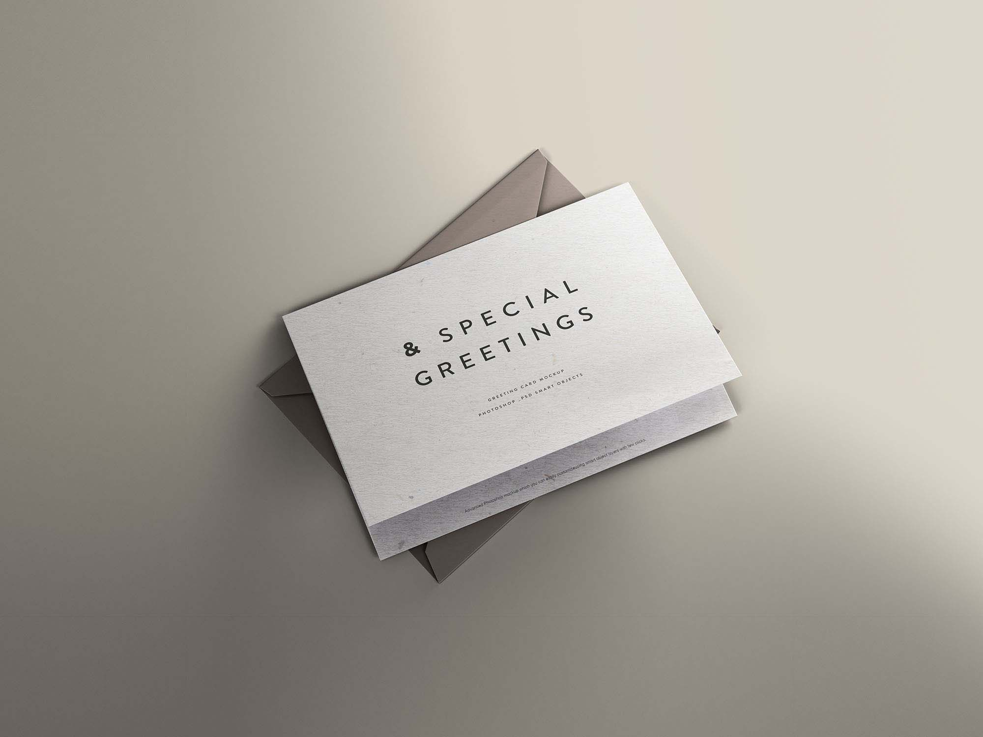 Free Greeting Card Mockup With Envelope PSD