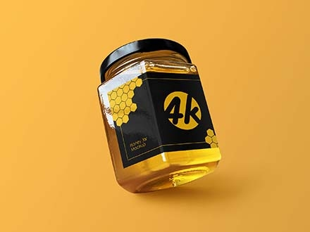 Hexagon Honey Jar Mockup