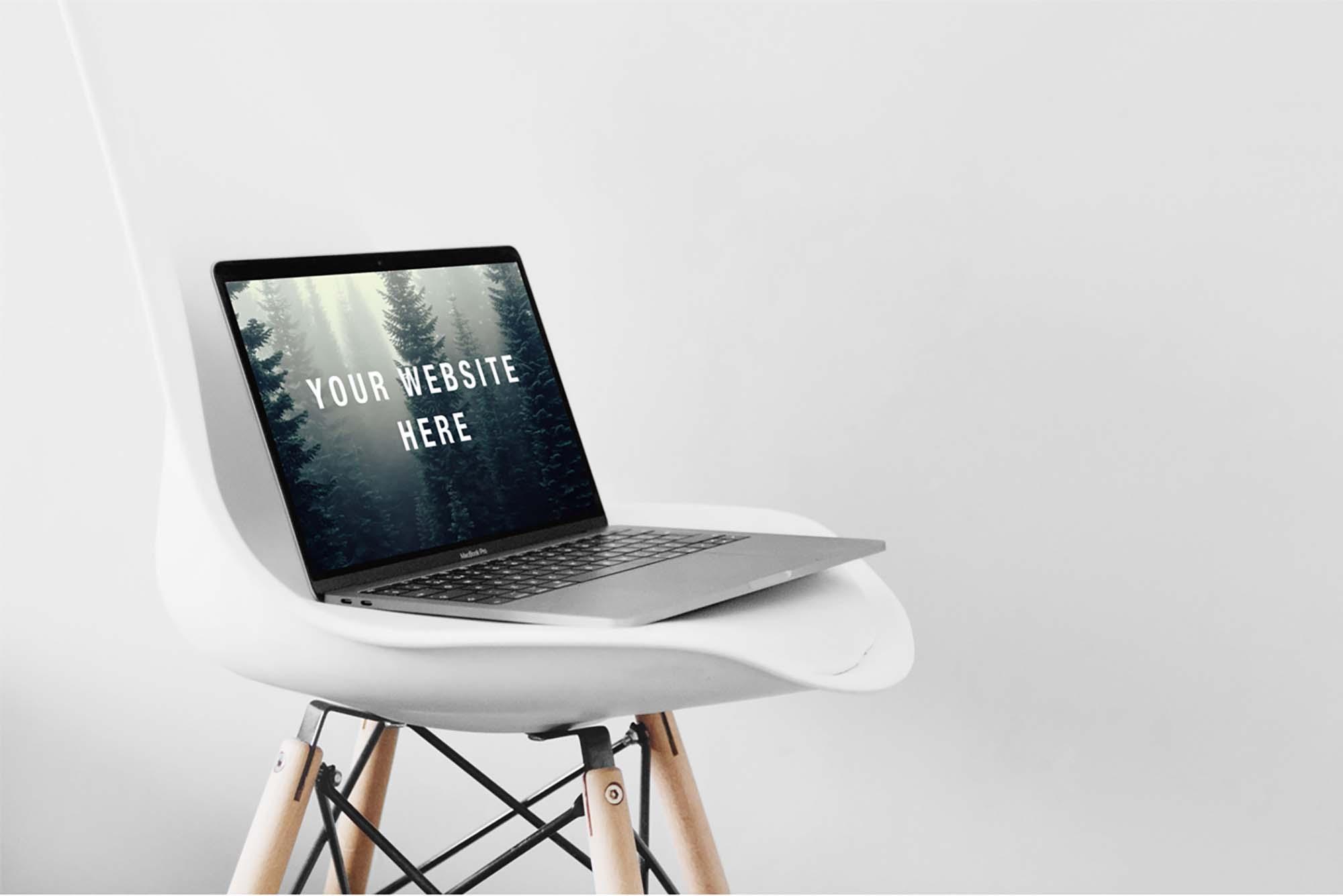 MacBook Pro Mockup on Chair