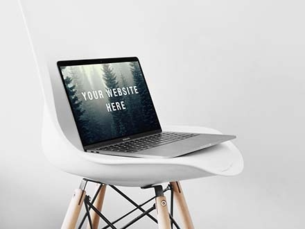 MacBook Pro Mockup on Chair