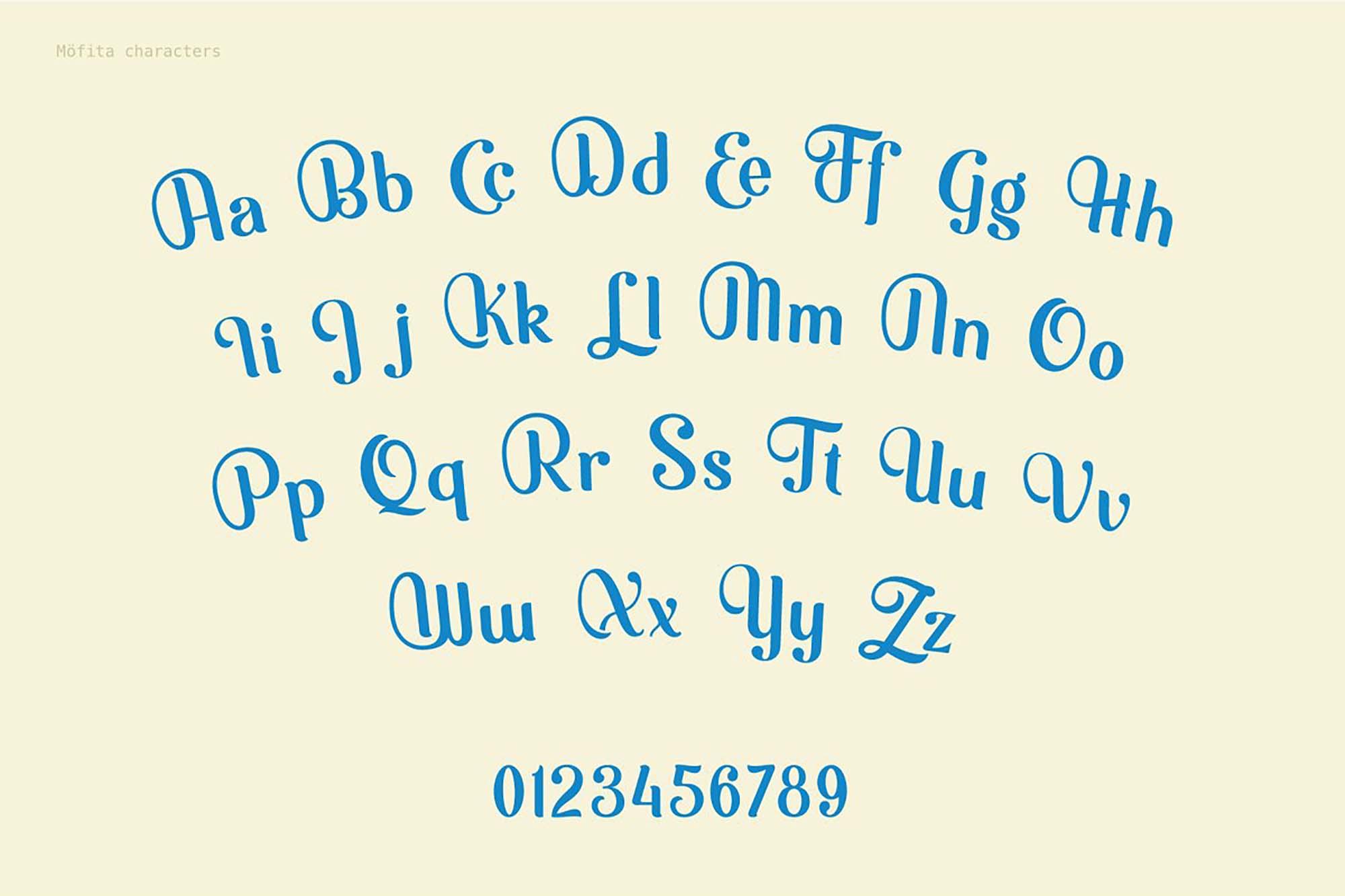 Mofita Font Letters