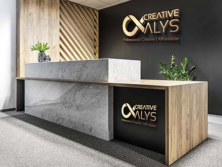 Office Reception 3D Logo Mockup