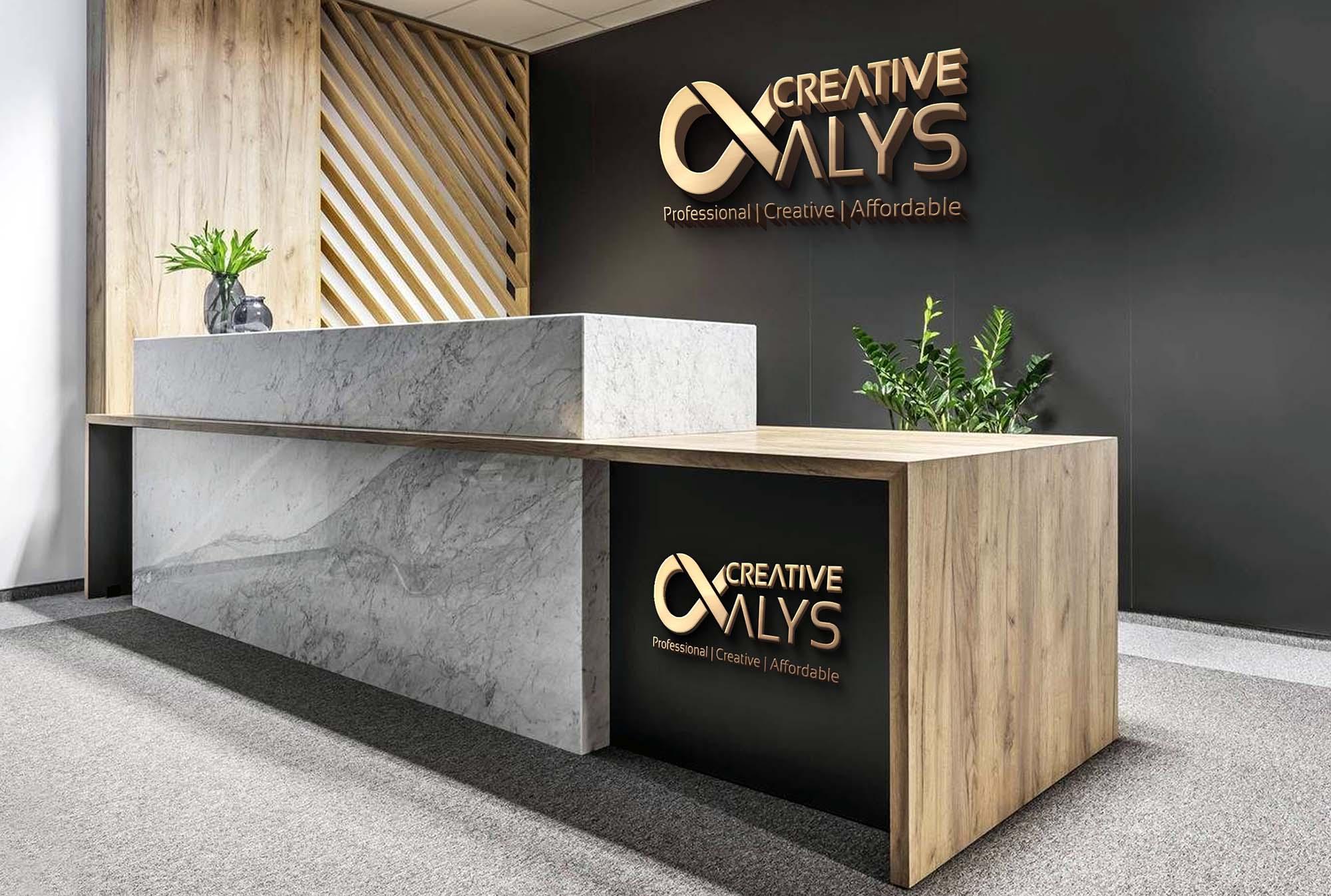 Office Reception 3D Logo Mockup