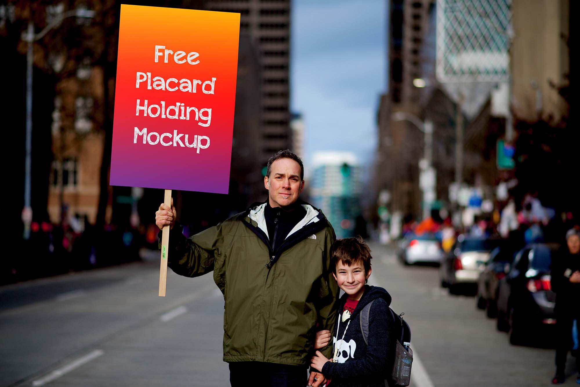 Placard Holding Mockup