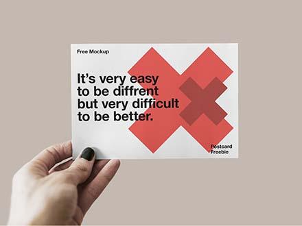Postcard Mockup in Hand