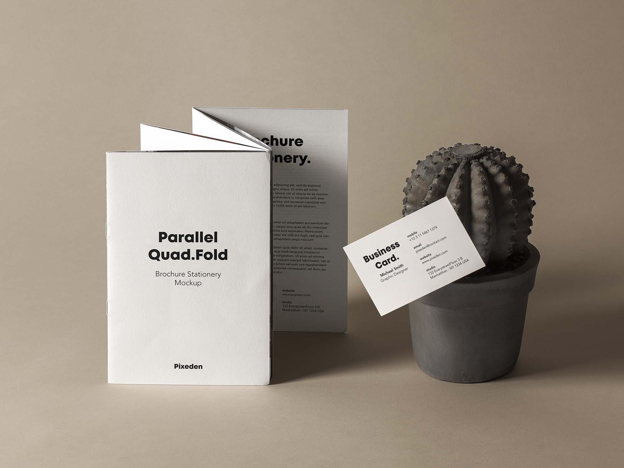 Quad Fold Brochure Mockup