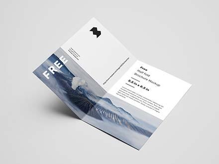 US Half Fold Brochure Mockup