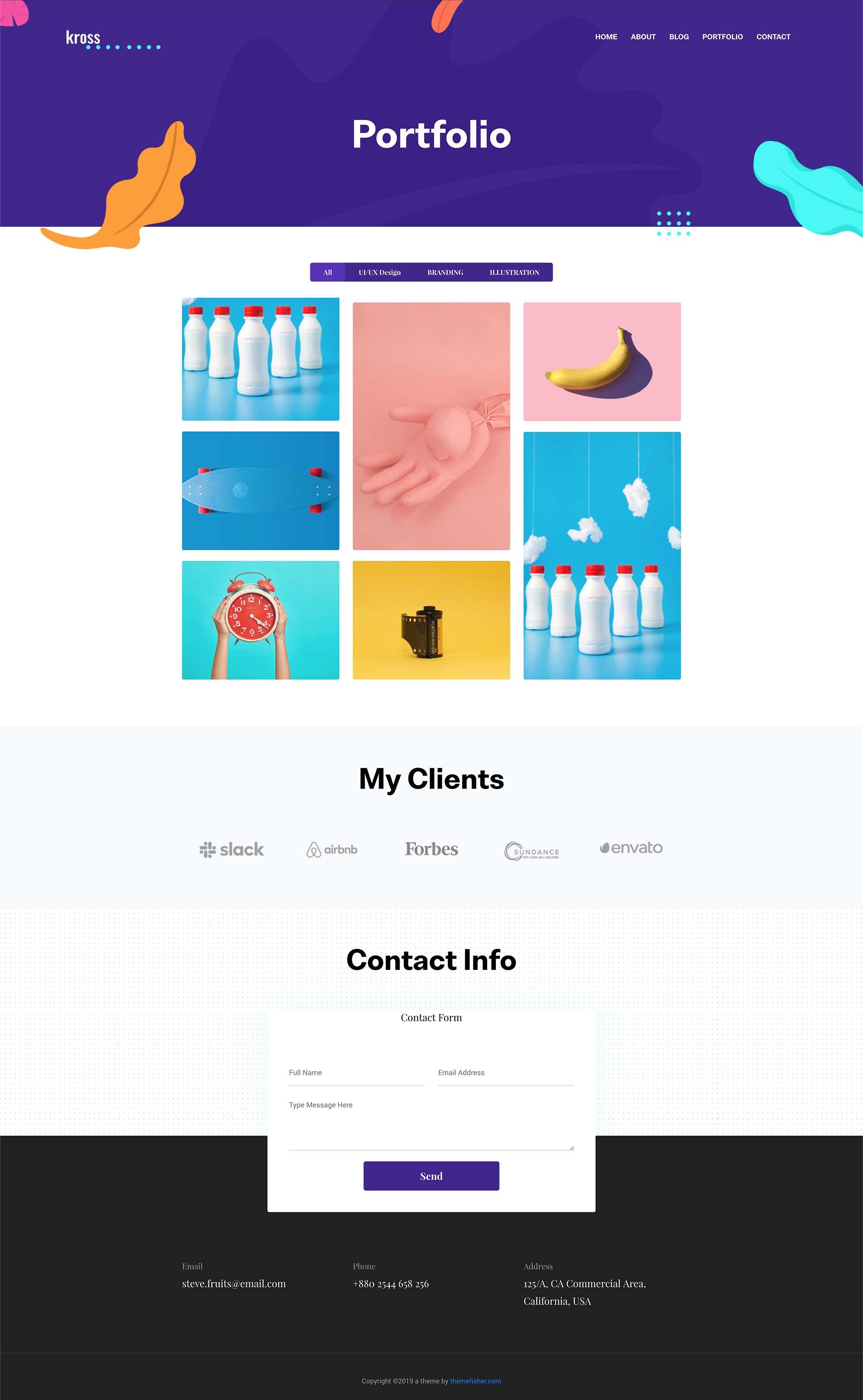 Free Kross Creative Portfolio Website Template (PSD)