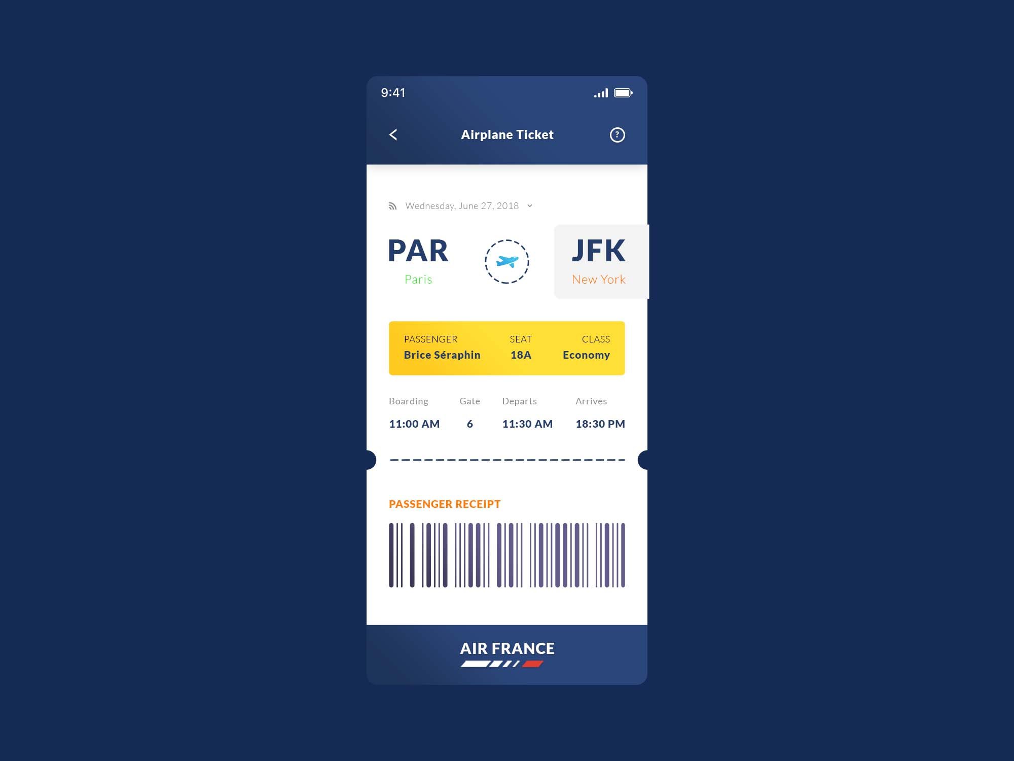 Airplane Ticket App Template